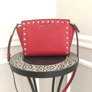 Michael Kors Red Studded Selma Shoulder Bag